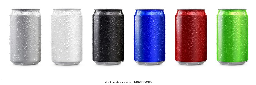 Aluminum cans in silver,white,black,blue,red,green isolated on white background,canned with water drops