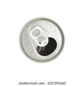 Aluminum cans top view isolated on white background.