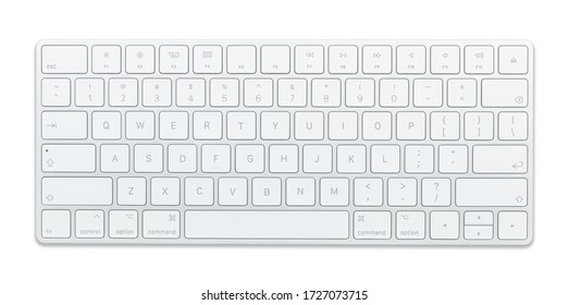 Aluminum computer keyboard Beautiful modern design, isolated on a white background.