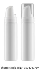 Aluminum container for cosmetics or medicines with a plastic dispenser and a screw cap or without - photo mock-up of empty packaging - clipping paths
