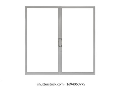 Aluminum door with handle isolated on white background.