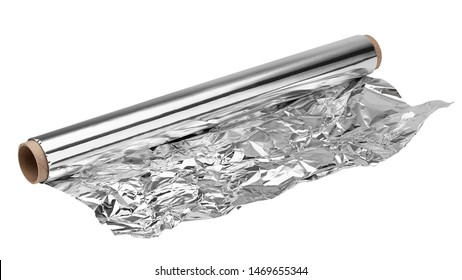 aluminum foil, isolated on white background, clipping path, full depth of field