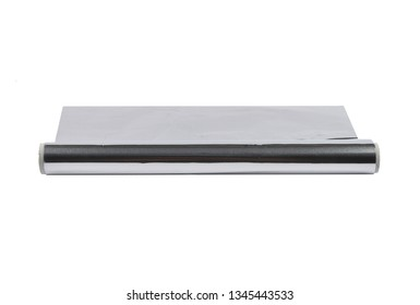 Aluminum foil on white background