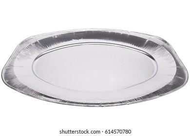 Aluminum food dish. Catering food packaging. Disposable food dish.