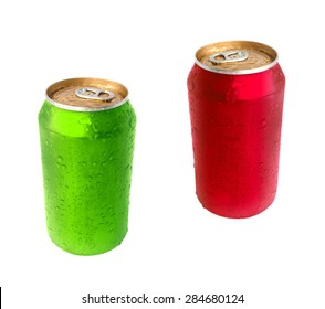 Aluminum green and red drink can