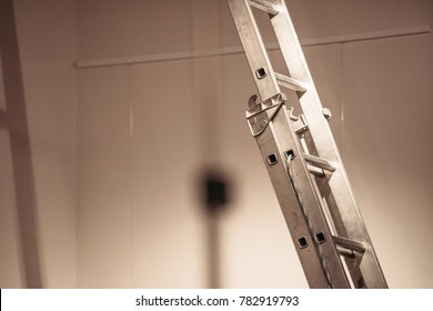 Aluminum ladders at construction area