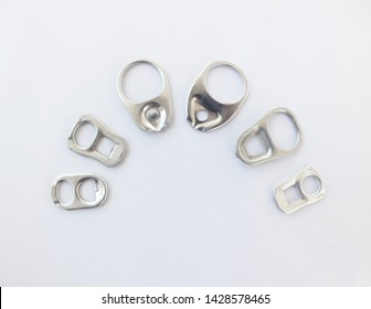 Aluminum lids,metal ring pull can on white background.