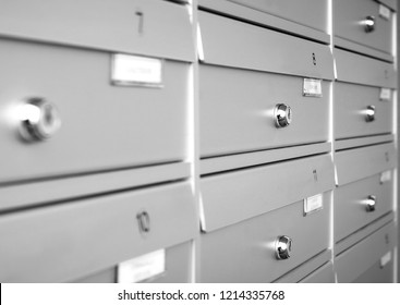 Aluminum mail boxes. Ideal for concepts such as safety and security, business communication and more. Shallow DOF.