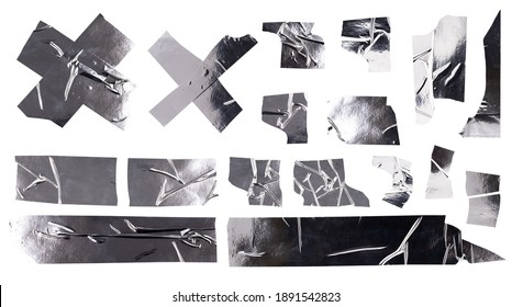 Aluminum metal tape, silver torn pieces of holographic stickers of different shapes on white background