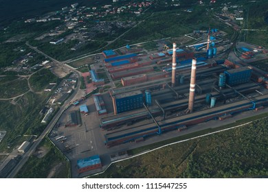 Aluminum Metallurgical Plant Aerial View. Plant Produces Products for the needs of the Electrical Industry. Technological Processes Include Electrolysis, Smelting and Rolling. Kandalaksha Russia