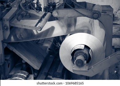 Aluminum on machine in workshop