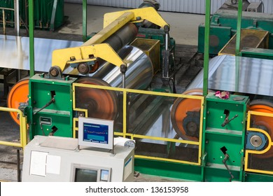 Aluminum on machine in workshop on rolling mill