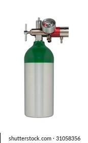 Aluminum oxygen tank with regulator isolated on white