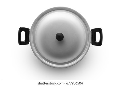aluminum pan on a white background top view