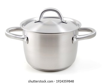Aluminum pot with lid isolated on white background