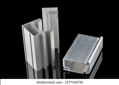 Aluminum profile sample isolated on black background.