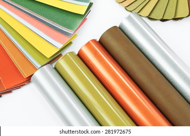 Aluminum profiles coated with colorful effect pigments powder coating.