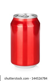 Aluminum red soda can. Isolated on white background