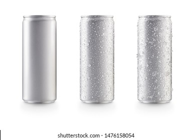 Aluminum slim cans in silver isolated on white background,canned with water drops,canned with water drops and ice
