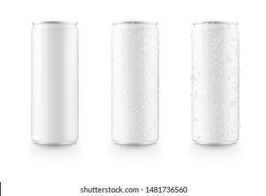 Aluminum slim cans in white isolated on white background,canned with water drops,canned with water drops and ice