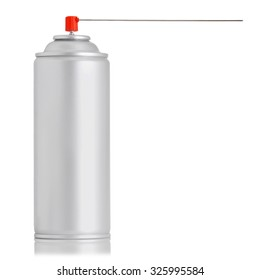 aluminum spray insecticide can isolated on white background. studio shot