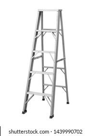 Aluminum stepladder foldable a(with clipping path) isolated on white background