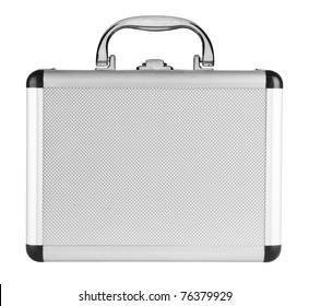 Aluminum suitcase isolated on a white background