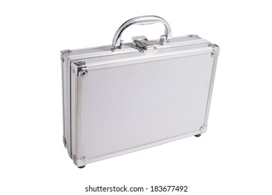 aluminum suitcase on a white background