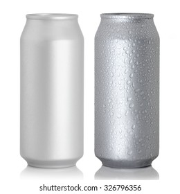 Aluminum thin cans on a white background