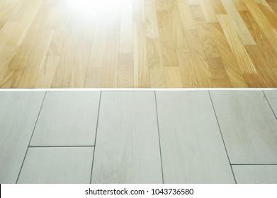 https www shutterstock com image photo aluminum threshold between ceramic tiles parquet 1043736580