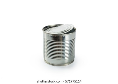 Aluminum tin can on a white background