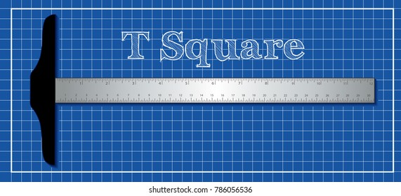 Aluminum T-square architectural and engineering drafting tool with aluminum inch and centimeter measure, blueprint background.
