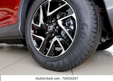 Aluminum wheel with  Goodyear EfficientGrip tire, Honda CRV 2017, Estonia, Narva, September 2017, Car Showroom