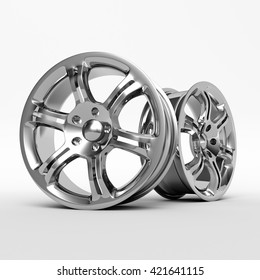 Aluminum wheel image 3D high quality rendering. White picture figured alloy rim for car, tracks. Best used for Motor Show promotion or car workshop booklet or flyer design on white background.