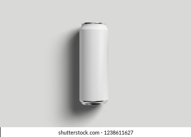 Aluminum white soda can mock-up isolated on soft gray background.High resolution photo.