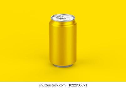 Aluminum yellow can mockup isolated on yellow background. 330ml aluminum  tin soda mock up.