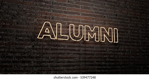 ALUMNI -Realistic Neon Sign on Brick Wall background - 3D rendered royalty free stock image. Can be used for online banner ads and direct mailers.