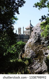 Alupka, Crimea - August 9, 2018: Vorontsov Palace, located at the foot of Mount Ai-Petri. The palace was founded in the middle of the 19th century (1848). Currently, the object functions as a museum.