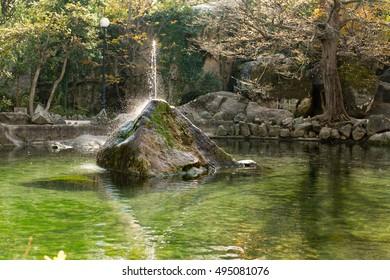 Alupka, Crimea, autumn 2013: the park with the lake and the fountain