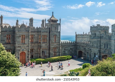 Alupka, Crimea - June 13, 2014: Count Vorontsov Palace in Alupka. The palace was built from 1828 to 1848 as the summer residence of a prominent Russian statesman Count Mikhail Vorontsov.