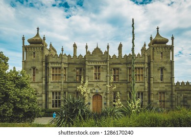 Alupka, Crimea - June 19, 2017: Vorontsov Palace in Crimea, Russia. Vorontsov Palace is an historic palace situated at the foot of the Crimean Mountains near the town of Alupka in Crimea.
