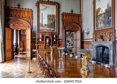 Alupka, Crimea - May 20, 2016: Inside the Vorontsov Palace in Crimea, Russia. It is one of the best-known sights of Crimea. Luxury ancient interior of Vorontsov Palace. Crimea landmark.