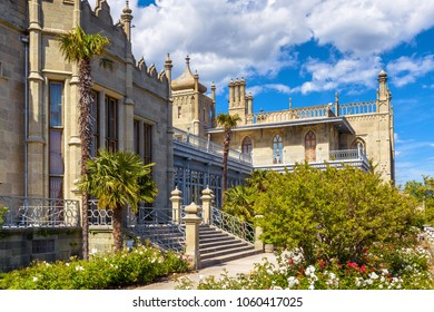 Alupka, Crimea - May 20, 2016: Beautiful view of Vorontsov Palace in Crimea, Russia. Vorontsov Palace is one of the best-known sights in Crimea. Historical architecture of Crimea in summer.