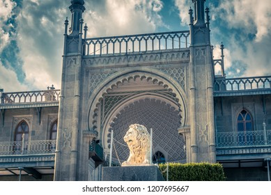 Alupka, Crimea - May 20, 2016: Vorontsov Palace with lion statue in Crimea, Russia. Vorontsov Palace is one of the main landmarks of Crimea. Historical architecture in arabic style in South Crimea.