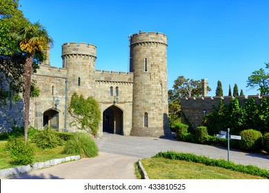 ALUPKA, CRIMEA - MAY 20, 2016: Entrance to the Vorontsov Palace in Crimea, Russia. It is one of the main tourist attractions of Crimea. Beautiful scenic view of the historical landmark of Crimea.
