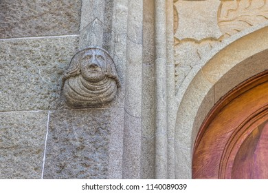 ALUPKA, CRIMEA-June 2018: Sculpture left on the wall at the entrance to the Vorontsov Palace