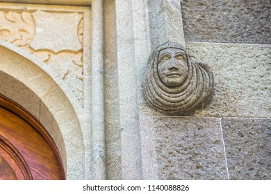 ALUPKA, CRIMEA-June 2018: Sculpture on the right on the wall at the entrance to the Vorontsov Palace
