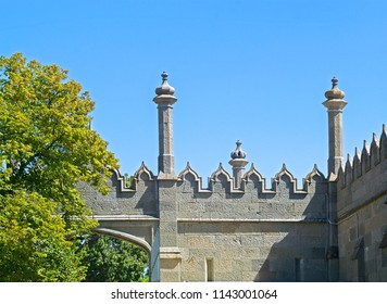 Alupka, Russia - Sep 8, 2016: Towers & merlons of Vorontsov Palace (1848). Mauritanian medieval style.