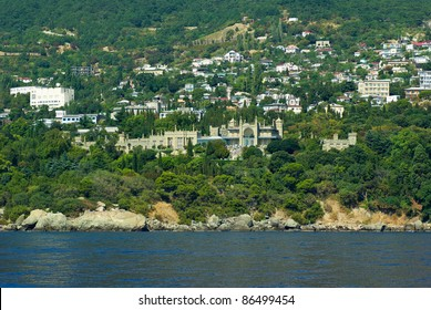 Alupka town and Vorontsov palace. View from the sea. Crimea. Ukraine