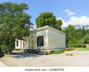 Alupka, Yalta, Crimea, Russia-September 12, 2018: sea View of the Tea House pavilion at the bottom of the Vorontsov Palace landscape Park on a Sunny summer day